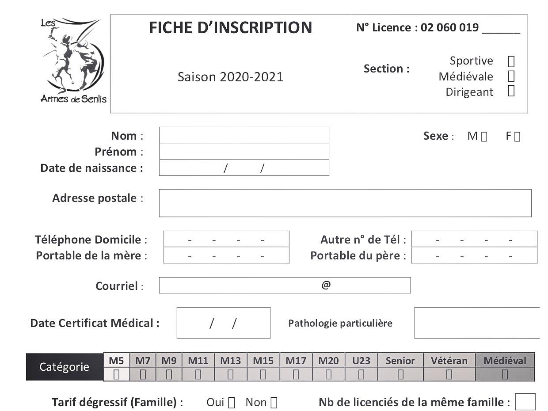 FICHE D'INSCRIPTION